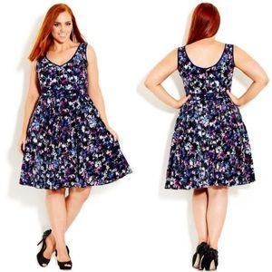 City Chic Floral Burst A Line Mini Dress Pockets